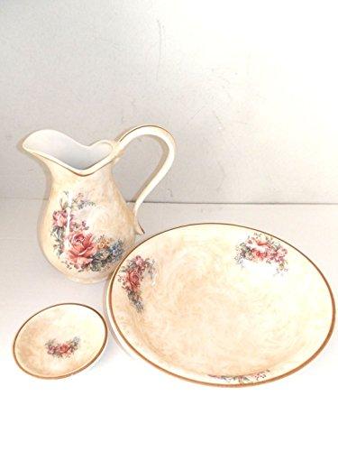 arterameferro Set de Toilette pour lavabo en céramique Toscana 3 pièces avec Roses Bassine Pichet