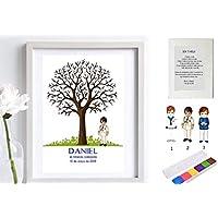 Cuadro de árbol de huellas con niño de comunión. Varios tamaños y colores de marco.Tintas e instrucciones incluidas. Libro de invitados