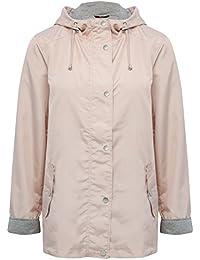 M&Co Ladies Three Quarter Length Sleeve Zip and Popper Fastening Hooded Short Mac Coat