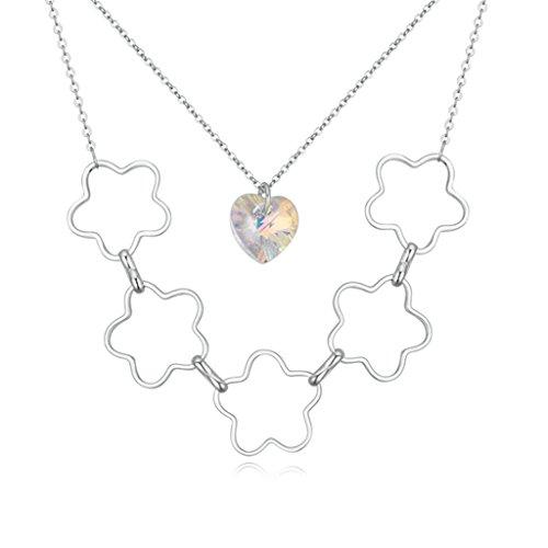 Daesar Schmuck Damenkette Vergoldet 5 Blumes 1 Herz Halsketten Zirkonia Anhänger Halskette für Frauen