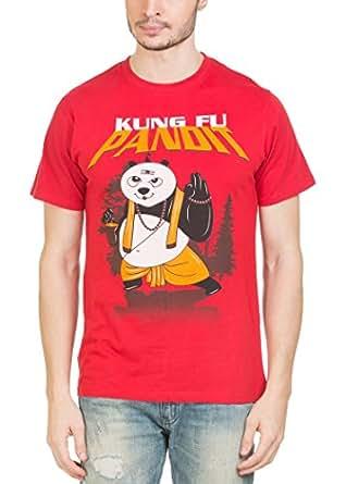 Zovi Cotton Kungfu Pandit China Red Graphic T-shirt(11973501401_XX-Large)