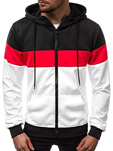 OZONEE Herren Kapuzenpullover Pullover Motiv Modern Täglichen Streetwear Sportswear Sweatshirt Langarmshirt 777/564B SCHWARZ-WEIß M