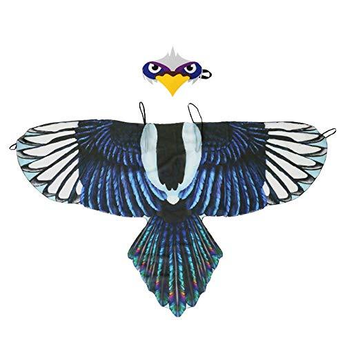 TTXLY Halloween Kinder Vogel Flügel Mantel Kopfschmuck Adler Elster Party Leistung Kostüm Requisiten Spielen Cosplay Dress Up Wings Cape Maske,E