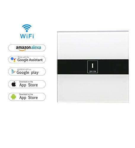 Licht-timer Wandschalter (Smart Home Schalter, MroTech WiFi Touch Lichtschalter WLAN In-Wall Touchscreen-Schalter Touch Panel Schalter Wandschalter arbeitet mit Amazon Alexa und Google Home, Neutral Required (1-Weg))