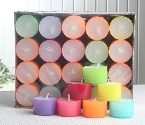 40 Teelichter - Summerlights, farbige Hülle, 7-8 Std. Brenndauer