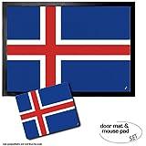Set: 1 Fußmatte Türmatte (70x50 cm) + 1 Mauspad (23x19 cm) - Island, Flaggen Der Welt