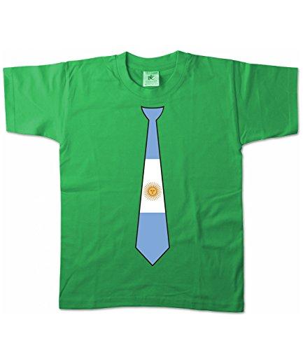 Artdiktat Kinder T-Shirt   Argentinien Argentina   Krawatte Tie   Wm Weltmeisterschaft 2018 Russia Russland Größe 152/164, Grün (Adidas-argentinien-weltmeisterschaft)