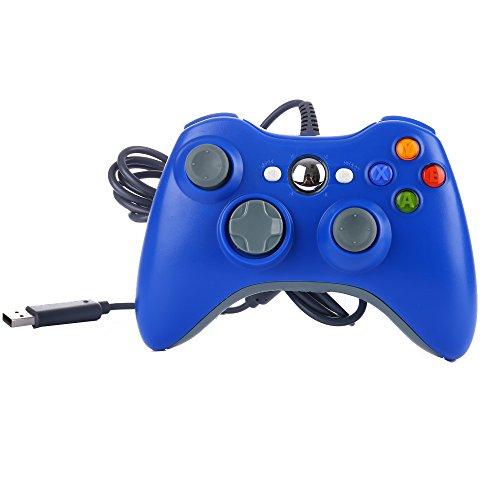 Game Controller für Xbox 360, USB Wired Gaming Gamepad Dual Shock Joystick Joypad für PC Computer Laptop Blau Blau (Rosa Für Xbox 360 Konsole)