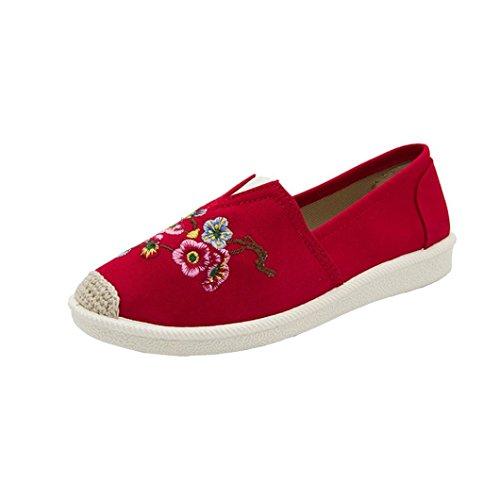 FEITONG Damen Klassisch Pumps Ethno-Stil Gestickte Flache Schuhe Canvas Schuhe Herbst Schuhe -