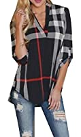 YYear Womens Roll-Up 3/4 Sleeve Plaid Print Irregular Blouse Tops T-Shirt Black US XS