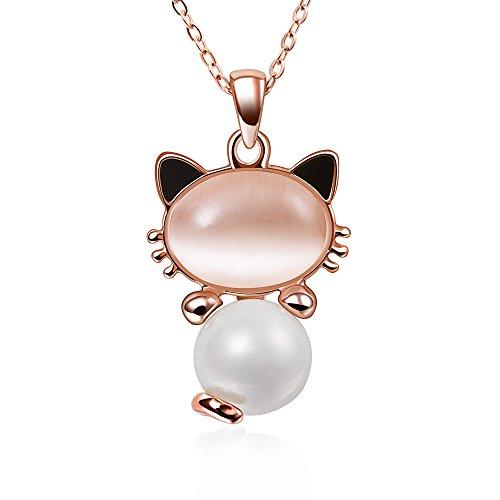 Collana Donna Cuore Cristallo Austriaco Ciondolo a forma di coniglio di Cristallo Carina Placcata oro bianco Catena Pendente