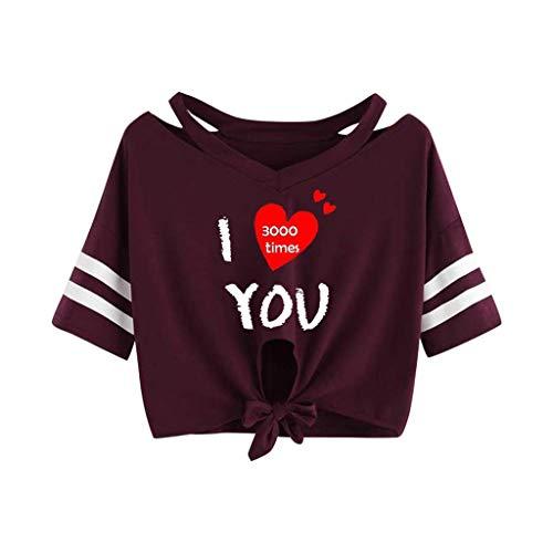 KIMODO T Shirt Damen I Love You 3000 Times Drucken Bluse Sommer Kurzarm Locker Lässig Top mit V-Ausschnitt Bogen-Knoten-Verband Oberteile Shirt - Baumwolle Love Crewneck T-shirt