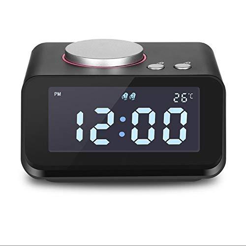 Sveglia con Radio, Doppia Sveglia da Comodino con Funzione Snooze Altoparlante con Ingresso Ausiliario Caricatore USB per Camera da Letto Ufficio da Viaggio,Black