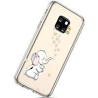 Handyhülle Huawei Mate 20 Pro Durchsichtig Silikon Schutzhülle Kratzfeste Kristall Transparent Silikonhülle Crystal Clear TPU Bumper Case TPU Cover Weich Hülle,Elefant