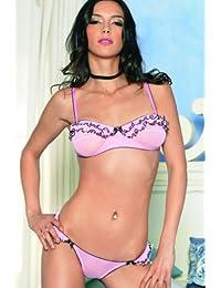 Leg Avenue - 2teilig Set mit Soft-BH und String aus fein transparentem Mesh - pink/schwarz - M/L