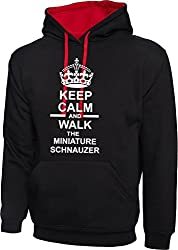 Keep Calm And Walk The Miniature Schnauzer Dog In Black & Red Hoody & White Text