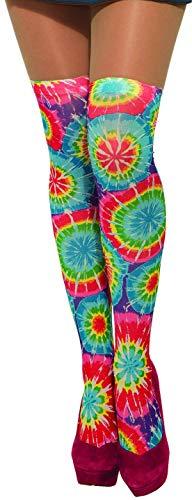 37 Hippie Tie Dye Strümpfe Damen, mehrfarbig ()