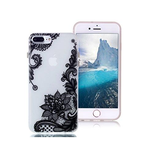 Custodia iPhone 7 PLUS AllDo Custodia in Silicone Luminoso Bagliore nel Buio Cover di Gomma Trasparente Custodia Liscio Leggero Case Disegno di Modello Stampato Custodia Morbida Flessibile con Bottoni Loto Nero