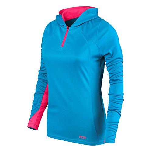 TCA Damen Leichtes Lauf-Shirt Energy - Kragen mit Kapuze und Reißverschluss - Blue Chill/Vivid Pink (Blau/Pink) - XL (Long Sleeve-lange Unterwäsche Armour Under)
