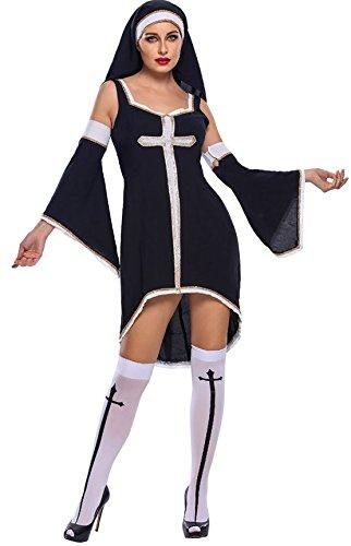 WXW Christian Böse Nonne Kostüme Drei Geladene Hülse Dress + Hat +,Schwarz,S