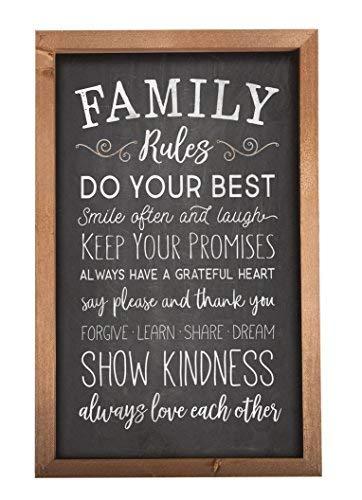 P. Graham Dunn Family Rules Kreidetafel Look 11,5x 18Holz Farmhouse Rahmen Wandschild