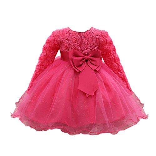 n Blumen Bowknot Prinzessin Kleider Brautjungfer Geburtstag Hochzeit Kleid (12 Monate, Heißes Rosa) (Blumen-mädchen-hochzeits-kleider)
