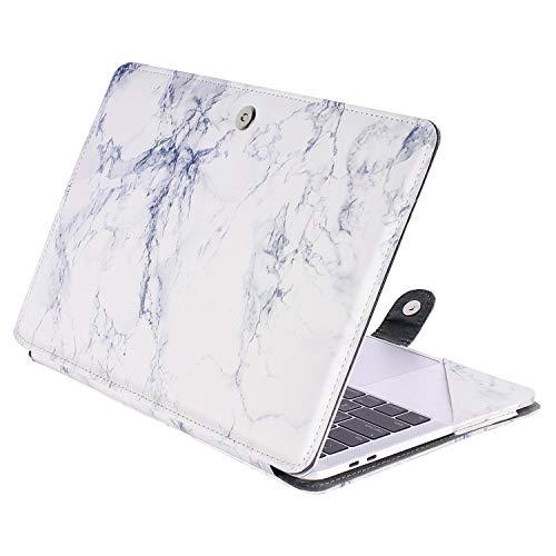 le Kompatibel 2018 MacBook Air 13 A1932 Retina Display / 2018 2017 2016 MacBook Pro 13 A1989/A1706/A1708, Book Folio Schutzhülle Stehhülse mit Klaren Trägern, Weiß Marmor ()