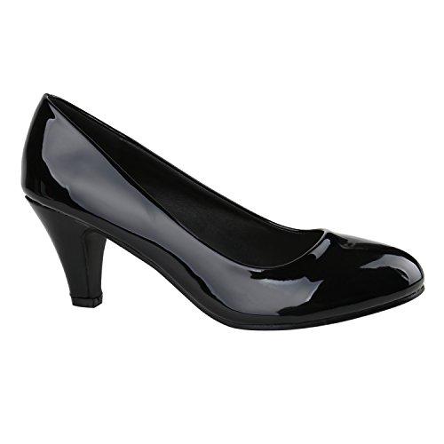 Klassische Damen Pumps Stilettos Abend Leder-Optik Glitzer Metallic Lack Schleifen Tanz Braut Schuhe 137801 Schwarz Lack 39 Flandell Lack Pumps