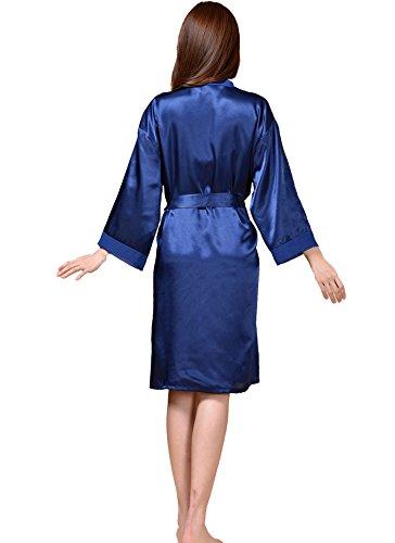 DELEY Damen Kimono aus Satin Elegante Charmante Robe Bademäntel Morgenmäntel Nachtkleid Nachtwäsche Negligee Schlafanzüge Blau