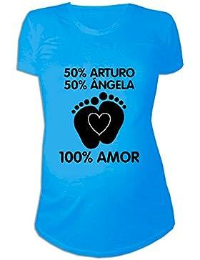 Regalo Personalizable Para Mujeres Embarazadas: Camiseta 'porcentajes' Personalizada con los Nombres de la Madre...