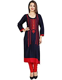 Attire4Fabric M&DR Women's Red Embroidered Rayon Straight Kurti Blue