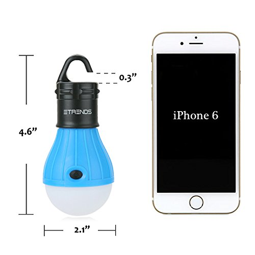 2 Pack E-TRENDS® Portable LED Lantern Tent Light Bulb for Camping Hiking Fishing Emergency Light, Battery Powered Camping Equipment Gear Gadgets Lamp for Outdoor & Indoor (Blue)