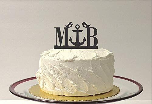 Anker Monogramm Love Birds Hochzeit Cake Topper Your Initials Beach Themed Topper Nautical Cake Topper Anchor