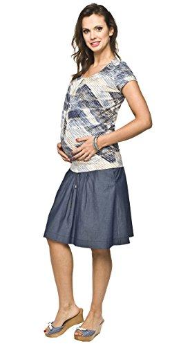 Torelle Umstandsrock, Schwangerschaftsrock Vena, Rock für Schwangere, 100% Hochwertige Baumwolle, Blau, L