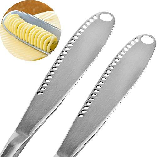 OurLeeme 2 STÜCKE Edelstahl Butterstreuer Messer, Professionelle 3 in 1 Buttermesser Schneidemaschine Lockenwickler Buttermesser mit Gezahntem Rand