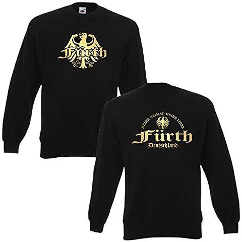 Sweatshirt Fürth meine Heimat meine Liebe, edel bedruckter schwarzer Herren Städte Pullover mit Rundhals auch Übergrößen (SFU08-07c) 6XL