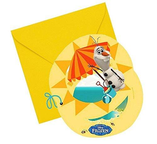 Disney Frozen Party Einladungen, 6Stück mit Sommer Olaf (Supplies Frozen Party Disney Geburtstag)