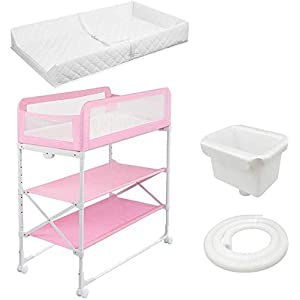 Changing Table Foldable Baby Diaper Changing Table,Movable Baby Changing Station with Safety Strap and Fence Baby Bath Table Dresser Unit Organizer (Color : Pink2)   4