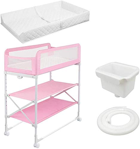 Changing Table Foldable Baby Diaper Changing Table,Movable Baby Changing Station with Safety Strap and Fence Baby Bath Table Dresser Unit Organizer (Color : Pink, Size : B) Changing Table ●Foldable changing table- Easily fold it if you finish all the tasks,With its space saving design, you can store it behind a door, it will make life a little easier for parents. ●Size and Safe and Stable- 80x 50 x 107cm,Suitable for babies weighing less than 25kg,With seat belt,Changing pad has a restraining strap for added safety and is made of easy to clean, soft ●2-in-1 design: Baby changing table can be used as baby massaging table as well. It is designed at the proper height of parent to prevent mom's back aches and pains from kneeling or bending when changing diapers to babies. 1