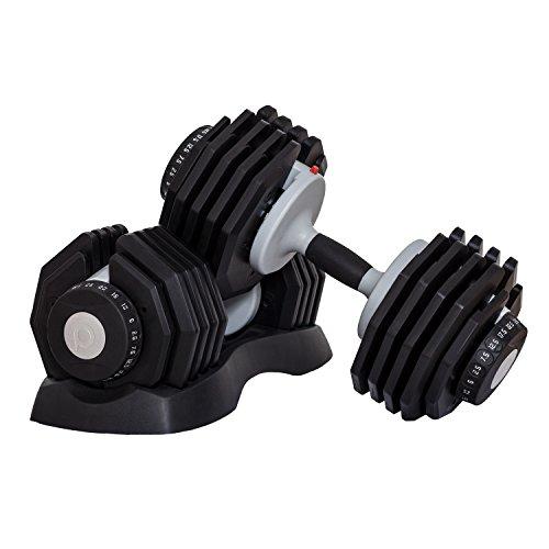 DialTech Hantelsystem von 2,5 bis 25kg, schnell verstellbar & platzsparend, Anti-Rutsch-Griff, 10 Hanteln in 1, Lieferumfang: 2 Hanteln und 2 Ablageschalen
