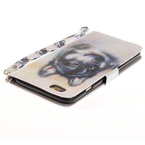 iPhone 6 Plus Hülle, iPhone 6S Plus Hülle, iPhone 6 Plus/ 6S Plus Lederhülle, iPhone 6 Plus / iPhone 6S Plus Brieftasche, BONROY Tier Muster Niedlich Komisch Ledertasche Handyhülle Kunstleder Tasche W Wolf