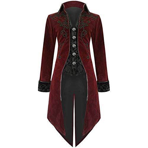 Longue Veste pour Hommes,Slim Fit Outwear Fashion Tailcoat Jacket Goth Standard Standard Solide Costume Uniforme Costume Praty Manteau Bellelove