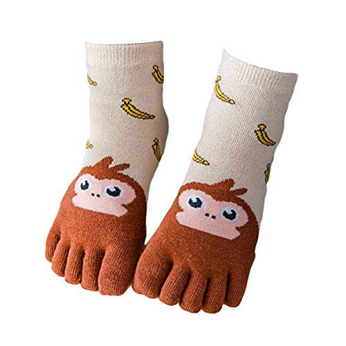 beiguoxia Niedlicher kreativer Tiermusterentwurf mit fünf Fingern auseinander scherzt Jungen-Mädchen-Tierfutter-Druck fünf Zehen-Finger-warme dehnbare Knöchel-Mannschaft S Affen-Banane 3-7 Jahre alt