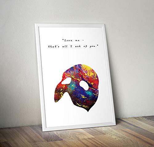 Phantom der Oper inspiriert Aquarell Poster Print Geschenke - Alternative TV/Movie Poster in verschiedenen Größen (Rahmen nicht im Lieferumfang enthalten)