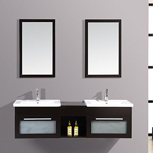 Mon Usine Discount Le Pacific wengé : Ensemble meuble de salle de bain en chêne, 2 vasques, 2 miroirs