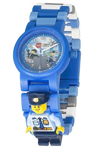 lizist Kinder-Armbanduhr mit Minifigur und Gliederarmband zum Zusammenbauen, blau/weiß, Kunststoff, Gehäusedurchmesser 25mm, analoge Quarzuhr, Junge/Mädchen, offiziell (Kinder Polizei Hats)