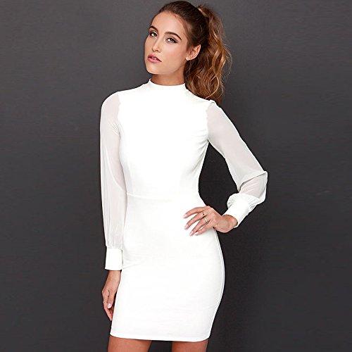 Belle Style Dos-nu Robe IHRKleid® Elegant Robe fourreau Genou-longueur Festive Robes Blanc