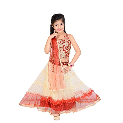 P R Enterprises Baby Girls Net Lehenga Choli In Cream And Mahrun For 9-10 Years, baby lehenga, lehenga choli for kids, baby lehenga choli, baby lehenga choli for kids