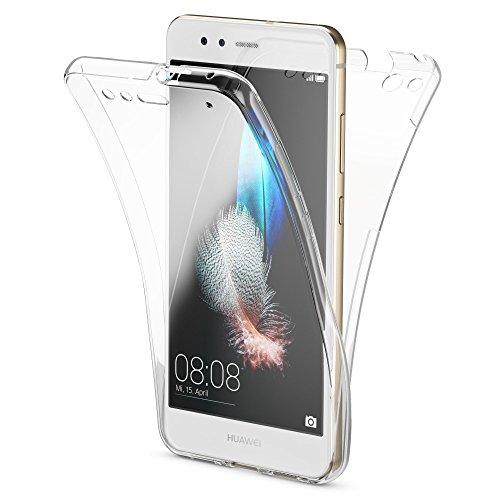 Huawei P10 Lite 360 Gradi Cover Totale Custodia Protezione di NICA, Silicone Trasparente Sottile Full-Body Case, Gomma Morbido Cellulare Ultra-Slim Protettiva Bumper Guscio, Colore:Trasparente