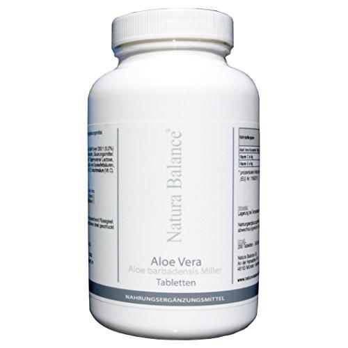 200 Kapseln Aloe Vera hochdosiert 200:1 Konzentrat 12.000mg pro Tablette, für Darm Detox Haut Tabletten Kautabletten Barbadensis Miller